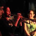 Jesse Malone, Tara Kannangara, Chelsea McBride with Blunt Object at The Tranzac, April 2016